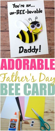 Give your amazing dad an adorable handmade Father's Day card. Head to the blog for a full tutorial on how to make the You're an un-BEE-lievable Daddy card.
