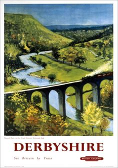 Derbyshire, England - Monsal Dale, Train and Viaduct British Rail - Vintage Advertisement Giclee Gallery Print, Wall Decor Travel Poster), Multi Posters Uk, Train Posters, Railway Posters, England Travel Poster, British Travel, European Travel, National Railway Museum, Retro Poster, Kunst Poster
