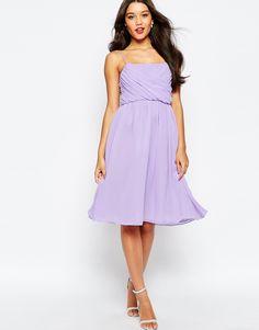 Image 1 ofASOS WEDDING Ruched Bust Midi Dress