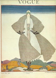 Vogue magazine cover 1920 by Lepape Lady by OLDBOOKSMAPSPRINTS