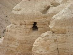 Israel Tour Pictures: Qumran Caves - Original manuscripts of the Hebrew Bible, the ancient Dead Sea Scrolls, were discovered in the caves of Qumran