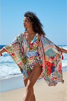 Luxury Swimwear, Women's Swimwear, Long Kaftan, Short Kimono, Silk Kimono, Boho Look, Johnny Was, Embroidered Blouse, Quilted Jacket