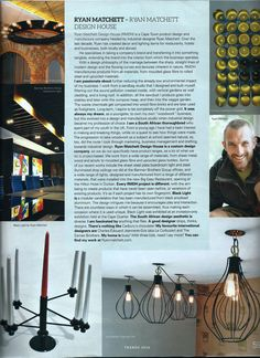 Ryan Matchett featured in SA Home Owner Magazine. Industrial Design, House Design, Magazine, Industrial By Design, Magazines, Architecture Design, House Plans, Home Design, Warehouse