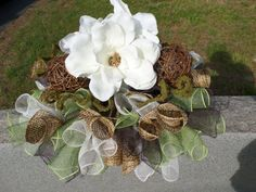 Steel Magnolias Headstone saddle Grave by DecoMeshObsession, $60.00