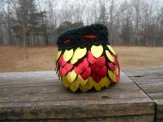 Dice Bag with Red and Gold scales on black yarn. Hand knit scalemail for gamers, DnD, and other dice storage. Scale Mail, Dice Bag, Knitted Bags, Hand Knitting, Storage, Red, Accessories, Black, Purse Storage