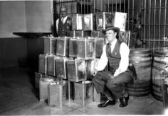Prohibition bust in Glendale, March 22, 1928. This cache of bootlegger paraphernalia used during prohibition was stored in the Glendale Police Department jail after a raid. The bust occurred at the Comalt Company, a beverage producer in Glendale. Glendale Central Public Library. San Fernando Valley History Digital Library.
