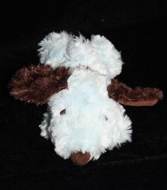 "Hallmark Blue Snoopy Dog.  He's so adorable with Shaggy fur, Laying on tummy Plush Stuffed Happiness Is A Warm Puppy about 7"" small mini puppy #Hallmark #Snoopy #HappinesIsAWarmPuppy"