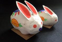 Vintage 70's Japanese Paper Mache Bunnies by BKLYNborn on Etsy