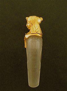 1860s Baccarat - 18kt Egyptian Scent Bottle
