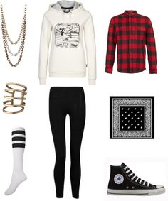 "[Requested by Anonymous] Outfit inspired by D-Unit's Jney in ""Talk To My Face"" More Outfit on I Dress Kpop Get The Look : Necklace Wire Ring High Knee Socks White Sweatshirt Black Leggins Flannel Shirt Black Bandana Converse"