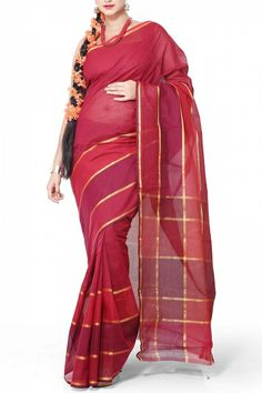 Red & Maroon Cotton Mangalgiri Saree