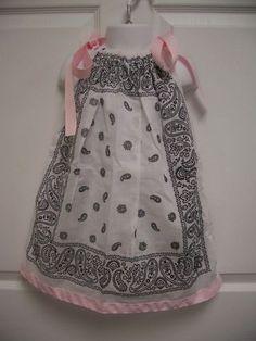 New Girls Size 3 White Bandana Pillowcase Dress Bandana Ideas, Bandana Crafts, Cowgirl Birthday, 2nd Birthday, Birthday Ideas, Sewing For Kids, Baby Sewing, Birthday Dresses, Bandanas