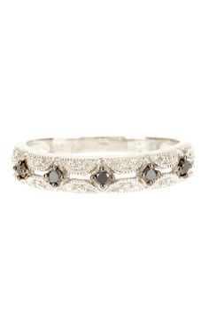 10K White Gold & Black Rhodium Plated Two-Tone Filigree Diamond Ring
