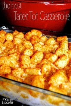 Simply the best tater tot casserole out there and simple enough that your kids can make it for dinner for you! It makes a great freezer meal as well. Tater tot casserole, always a favorite. Tater Tots, Cheesy Tater Tot Casserole, Casserole Dishes, Casserole Recipes, Tattor Tot Casserole, Breakfast Casserole, Hamburger Hotdish, Breakfast Dessert, Tator Tot Hotdish Recipes