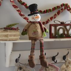 Our Rustic Snowman Shelf Sitter will brighten up any bookshelf or mantel with his rosy cheeks and festive plaid accents. It's weighted bottom allows him to balance on just about any flat surface. Primitive Christmas, Rustic Christmas, Christmas Crafts, Christmas Decorations, Holiday Ornaments, Holiday Fun, Snowman Crafts, Homemade Christmas Gifts, Diy Weihnachten