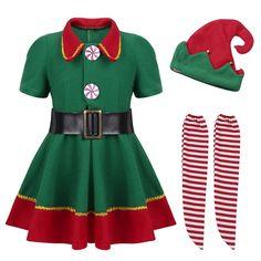 fancy dress christmas costumes Kids Girls christmas Dress for Girls New Year Festival Santa Clause Costume Kids Fancy Dress Up Party Dresses Elf Fancy Dress, Fancy Dress Costumes Kids, Christmas Fancy Dress, Fancy Dress For Kids, Girls Christmas Dresses, Girls Dresses, Dress Red, Green Dress, Christmas Clothes