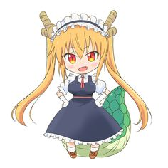 1girl blonde_hair blush_stickers breasts brown_shoes chibi dragon_girl dragon_tail fang female full_body gloves hands_on_hips horns kobayashi-san_chi_no_maidragon looking_at_viewer maid maid_headdress necktie open_mouth red_necktie shirakawa_mayumi shoes skirt slit_pupils solo tail tooru_(maidragon) twintails white_background white_legwear yellow_eyes