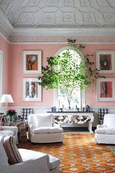 Pink Living Room with Indoor Tree - living room design, inspiration and ideas on HOUSE by House & Garden.