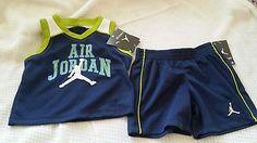 Boys size 12 months 2pc Navy blue and lime green Air Jordan Short set brand new