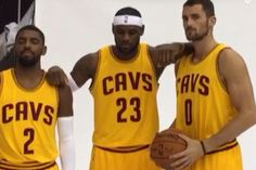 For the first time, we got to see the Cleveland Cavaliers' All-Star trio of  LeBron  James,   Kyrie Irving   and Kevin Love together in uniform at  Cavs  Media Day...