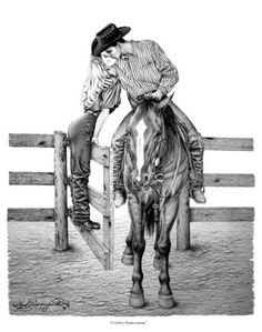 """Cowboy Homecoming"" by Paul Cameron smith! Horse Drawings, Couple Drawings, Art Drawings, Cowboy Love, Cowboy Art, Drawing Sketches, Pencil Drawings, Pencil Art, Westerns"