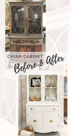 Painted China Cabinet before and after PLUS our new bathroom reveal!