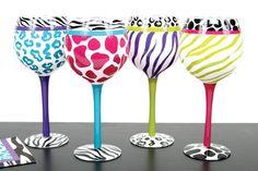 leopard print accessories | Wine Glasses, Barware, Bar Accessories