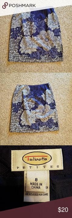 "Talbot's Petites Skirt Size 8 Petite Waist 29"" Length 20.5"" Slit 6 1/4""on left side skirt. Fully lined. NWT. Color navy and silver. Zipper left side. Talbots Skirts Midi"