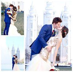 Bride in a rose modest mermaid wedding dress at the Salt Lake Temple | LDS Bride Blog by LatterDayBride | Winter Wedding | Salt Lake Temple | Modest Wedding Dress | Mermaid Silhouette | Lace | Blush | Pink | Custom-designed bridal | Mormon bride