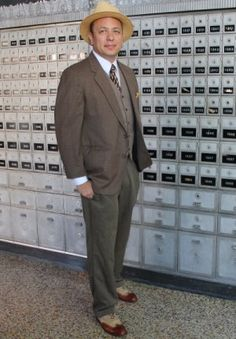 1930s men's costume idea- Mixing a suit jacket and pants is easy and authentic to the decade.