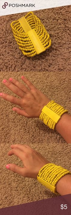 Beaded Bracelet  This chunky bright yellow bracelet will spice up any outfit! Like new. Jewelry Bracelets