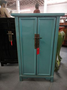 Asian Inspired Corner Cabinet Turquoise Los Angeles by housecandyla, $599.00