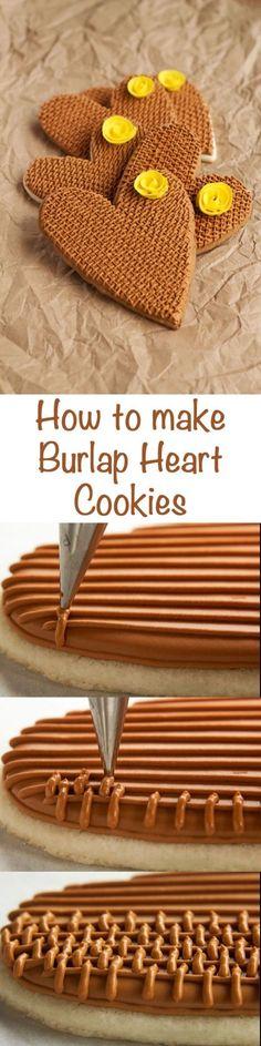 How to make Simple Burlap Rose Cookies via http://www.thebearfootbaker.com