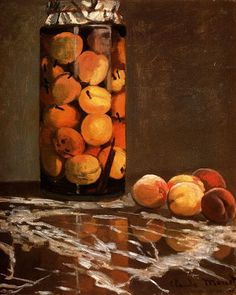 Jar Of Peaches by Claude Monet. Impressionism. still life