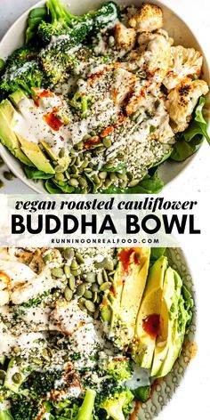 These vegan low-carb Roasted Cauliflower Broccoli Bowls feature lemon roasted ca. - These vegan low-carb Roasted Cauliflower Broccoli Bowls feature lemon roasted cauliflower, avocado, - Tasty Vegetarian Recipes, Vegan Dinner Recipes, Whole Food Recipes, Diet Recipes, Low Fat Vegan Recipes, Natural Food Recipes, Simple Healthy Recipes, Vegetarian Dinners, Vegan Recipes Healthy Clean Eating