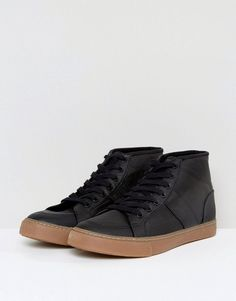 ASOS Mid Top Sneakers In Black With Gum Sole - Black