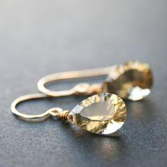 Champagne citrine pear cut earrings Handmade Jewelry, Unique Jewelry, Handmade Gifts, Citrine Earrings, Awareness Ribbons, Bridal Jewelry, Pear, Beading, Champagne