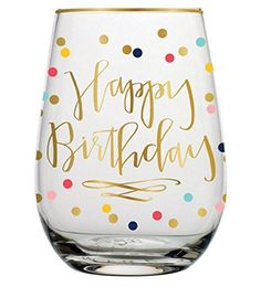 Slant Collection 20oz Stemless Wine Glass Happy Birthday >>> Want additional info? Click on the image.