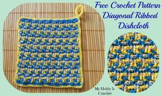 Dishcloth/Washcloth/ Coaster diagonal ribbed - Free pattern: written instructions and chart