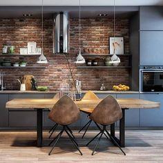 Minimalist and Modern Kitchen Decor You Will Love It - Home Decor Interior Loft Kitchen, Apartment Kitchen, Home Decor Kitchen, Kitchen Living, Apartment Design, Home Kitchens, Kitchen Brick, Apartment Hacks, Best Kitchen Designs