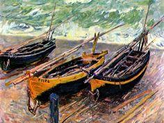 Üç Balıkçı Teknesi / Three Fishing Boats Claude Monet. 1885. Tuval üzerine yağlıboya. 92 x 185 cm. Szepmuveszeti Muzeum, Budapest.