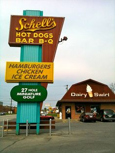 Schell's Hot Dogs Bar B Q and Dairy Swirl. A Reading, Pa. The sign should include cheddar cheese cubes! Reading Pennsylvania, Bbq Signs, Golf Card Game, Hot Dog Bar, Vintage Neon Signs, Reading Pa, Bar B Q, Miniature Golf, Vintage Advertisements