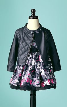 Faux leather and frills–almost too cute.