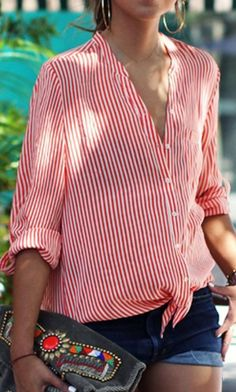 Red Stripe Roll-up Long Sleeve Tie Front Shirt