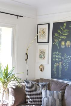 DIY Brass Swing Lamp, nice wall