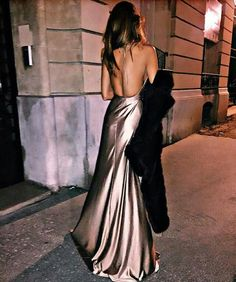 Silk dress Backless, A Line Prom Dresses, Evening Dresses, Slit Dress, Fashion, Champagne, Party Dress, Cool Pictures, Moda