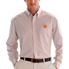 Clemson Tigers Box Plaid Poplin Button-Down Long Sleeve Shirt - White In Stock Now!