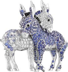 Van Cleef & Arpels Donkey clip. Blue and mauve sapphires, black spinels and diamonds.