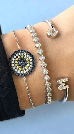 Good vibes only! Carly Michelle sapphire and diamond evil eye bracelet