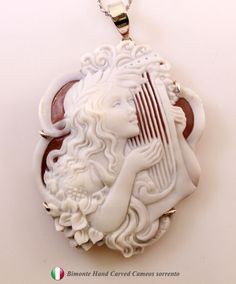 Shell: Cassis Madagascariensis Cameo Size: 62 mm Setting: Sterling Silver and Sterling Silver Chain Cameo Jewelry, Cameo Necklace, Antique Jewelry, Vintage Jewelry, All That Glitters, Silhouette Cameo, Jewelery, Bling, Carving